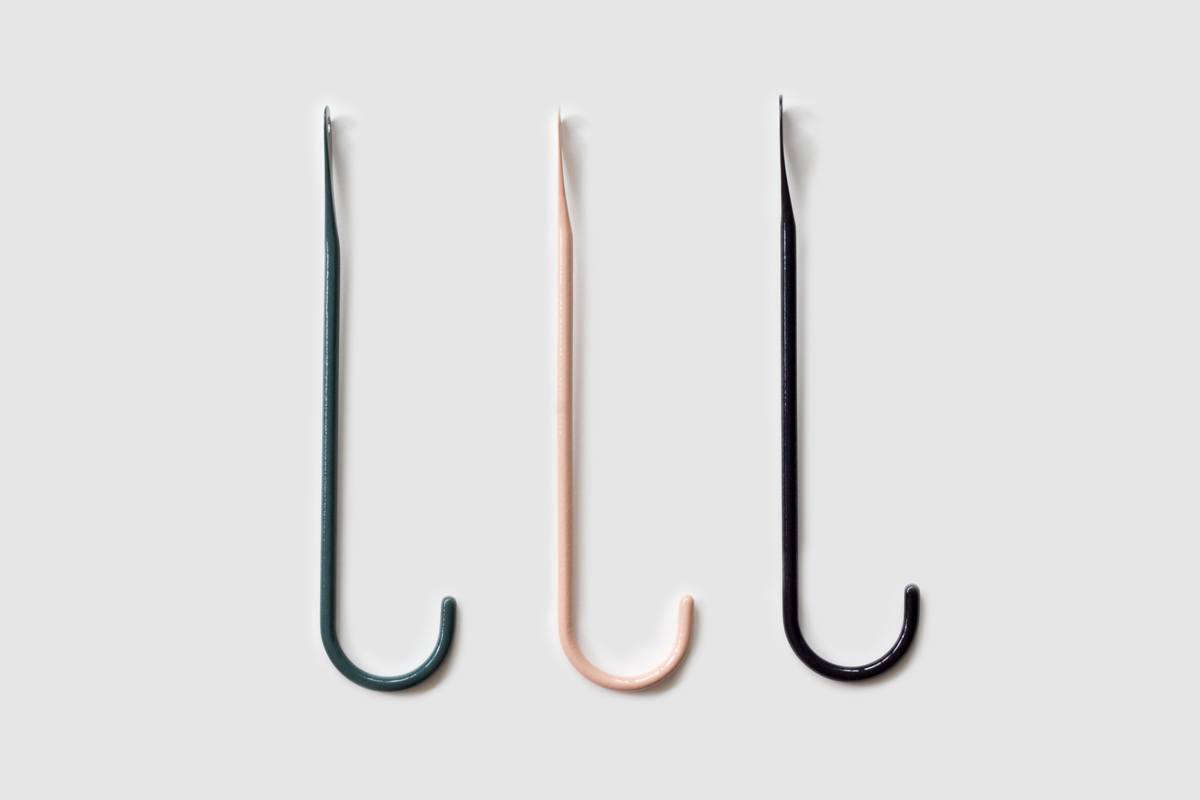 the bite hook—in dark green, pink, and black—is chf 45 (\$46 usd) each. 9