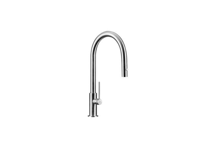 The MGS Spin Kitchen Faucet is a single hole faucet with a rotating spout and comes in a range of finishes; $loading=