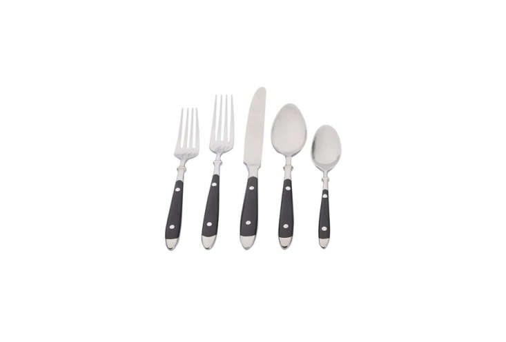 Pottery Barn makes a set of bistro-style flatware. The Cafe Flatware -Piece Set in Black has resin bakelite handles; $99 for the set.