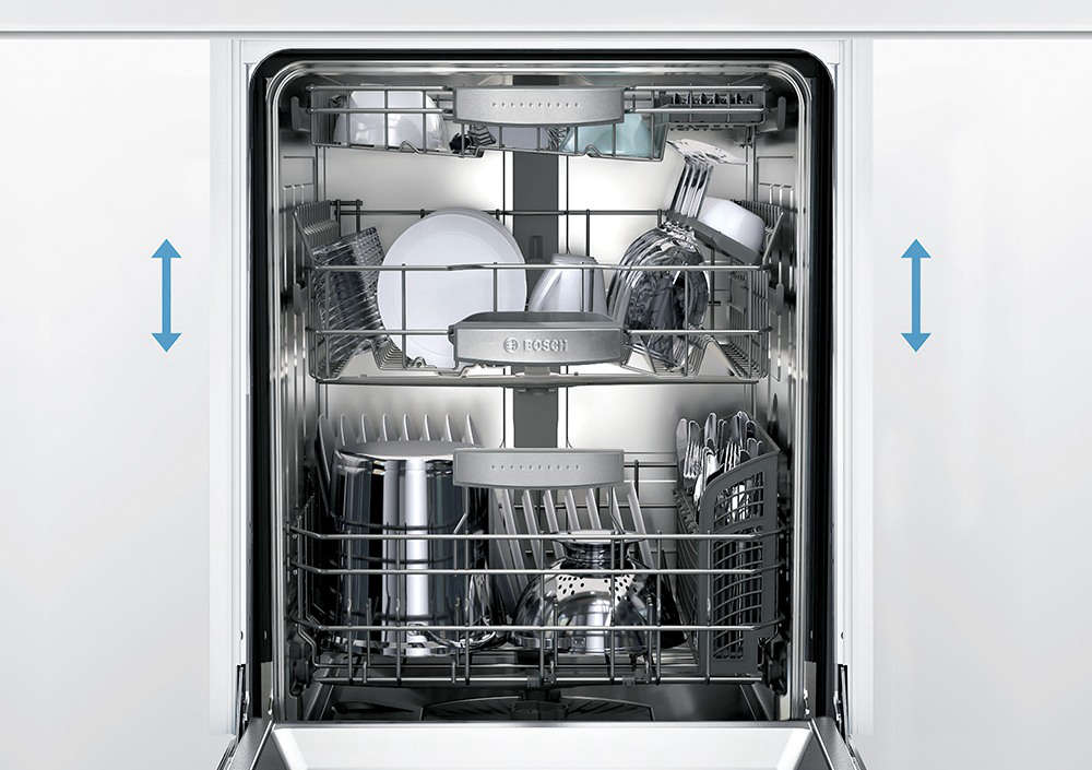 Bosch dishwashers feature Rackmatic®, which lets you adjust the middle rack into nine different positions. For example, you have the flexibility to load baking sheets in the bottom rack while still being able to load stemware in the middle rack. Photograph courtesy of Bosch Home Appliances.