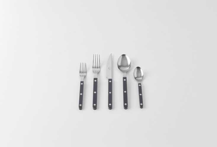 The Sabre Vintage Bistrot Grey Flatware Set is made in France with colored resin handles and an antique metal finish; $65 at March.