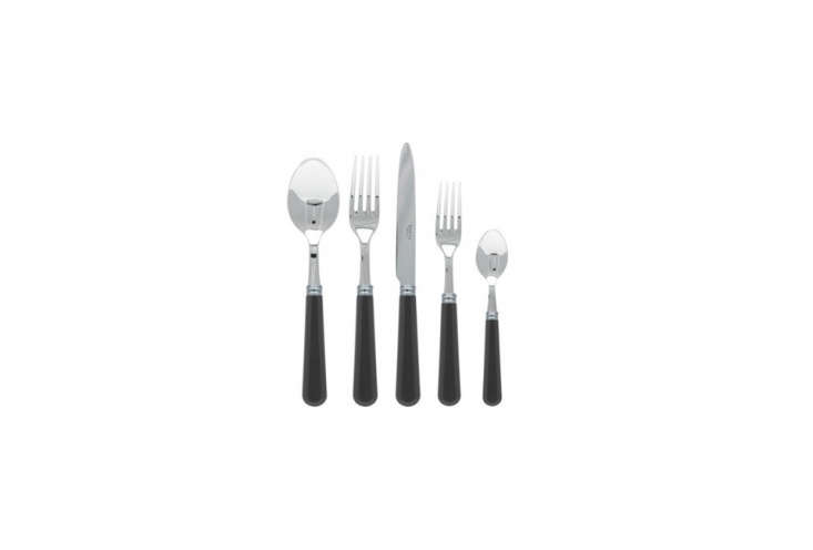 The Sabre Basic 5-Piece Place Setting is made of stainless steel and acrylic handles (shown in gray); $76.50 for the set at Yvonne Estelles.