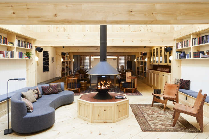 the lobby of scribner's catskill lodge, a 38 room mountain lodge in hunter, n 10