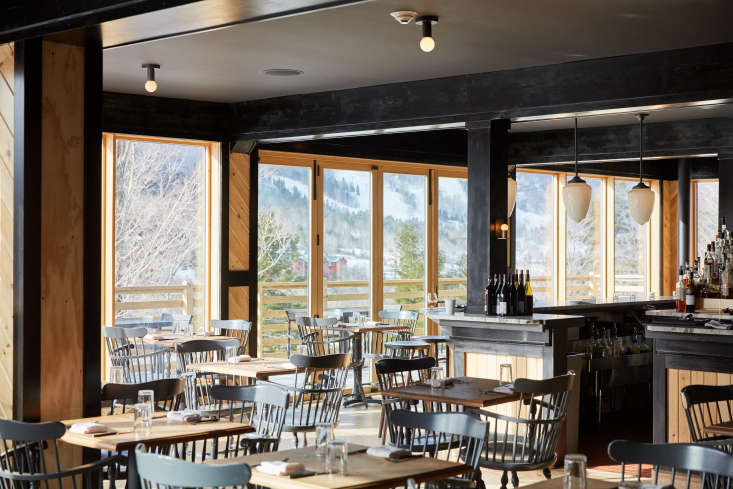 Scribners Catskill Lodge An Eccentric 1960s Lodge with a Modern Update The restaurant, called Prospect, is designed with natural and black stained pine. Photograph by Sidney Bensimon.