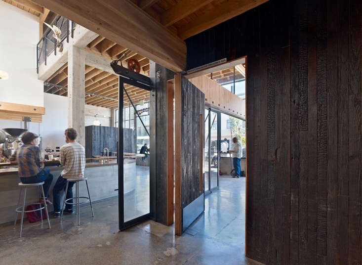 Architect Boor Bridges applied the technique to some of the interior walls of Sightglass Coffee in San Francisco from Architect Visit: Sightglass by Boor Bridges Architecture in San Francisco.
