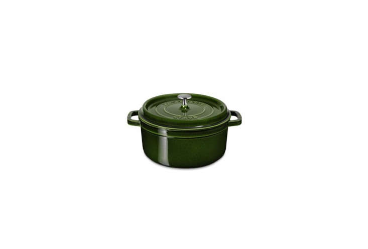 the staub cast iron round cocotte in basil starts at \$\2\15 at williams sonoma. 29
