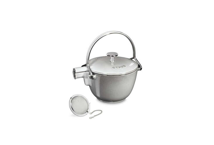 The graphite Staub Cast-Iron Round Tea Kettle is $0 from Williams-Sonoma.