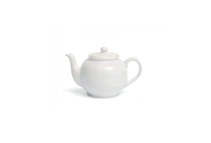 The Traditional Staffordshire Potteries Round White Teapot has a gloss glaze and is just £7 ($9 USD) at David Mellor in the UK.