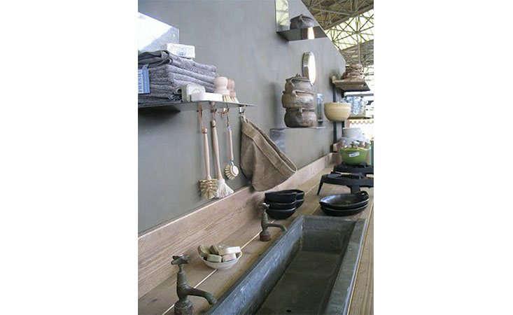An indoor/outdoor kitchen by VT Wonen at the Woonbeurs exhibit; photograph via Vosges Paris.
