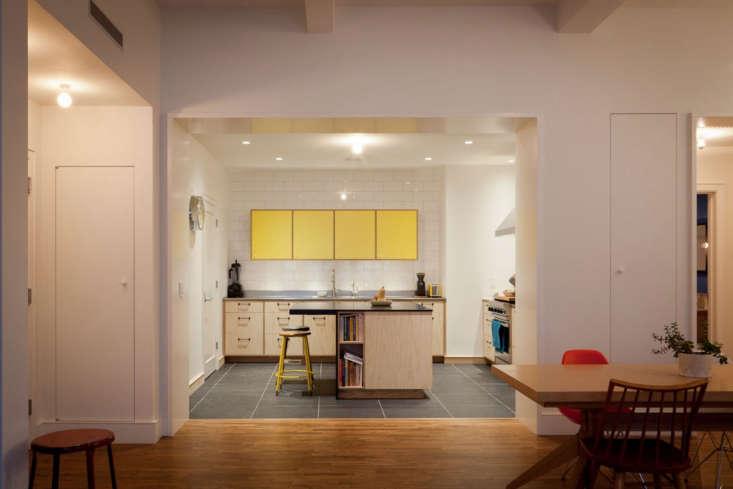 yellow plywood apartment kitchen nyc gray tile floor 1