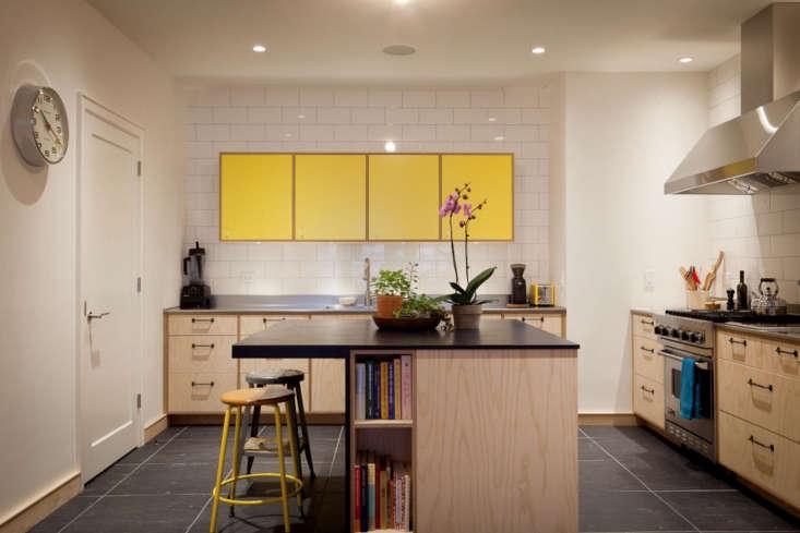 yellow plywood apartment kitchen nyc gray tile floor 2