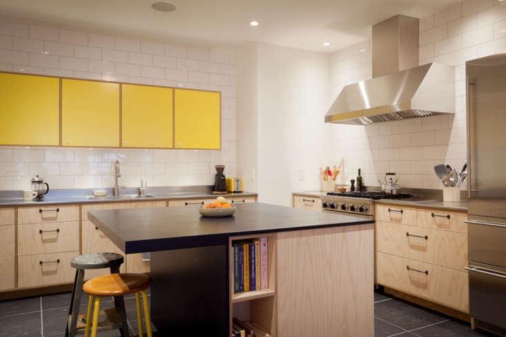 yellow plywood apartment kitchen nyc gray tile floor 3