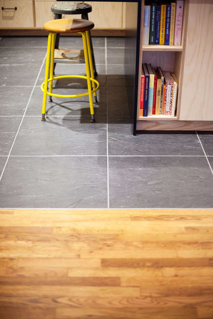 yellow plywood apartment kitchen nyc gray tile floor 5