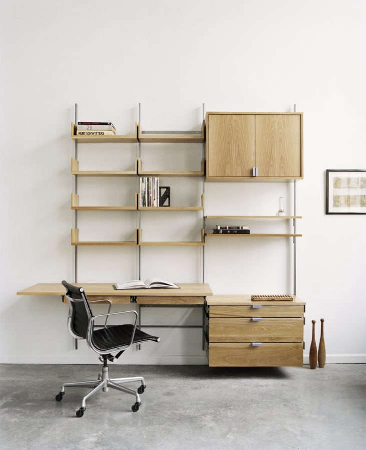 Made in Brooklyn, theAtlas Industries as4 Shelving System is available in white oak, maple, and walnut with sturdy steel brackets (custom color paint is also an option). The 9loading=