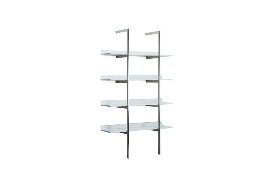 The Aliante Shelving System by Rodolf Dordoni for Capellini is available with polished chromed nickel supports and shelves in oak or mahogany. The shelves are available directly through Cappellini.
