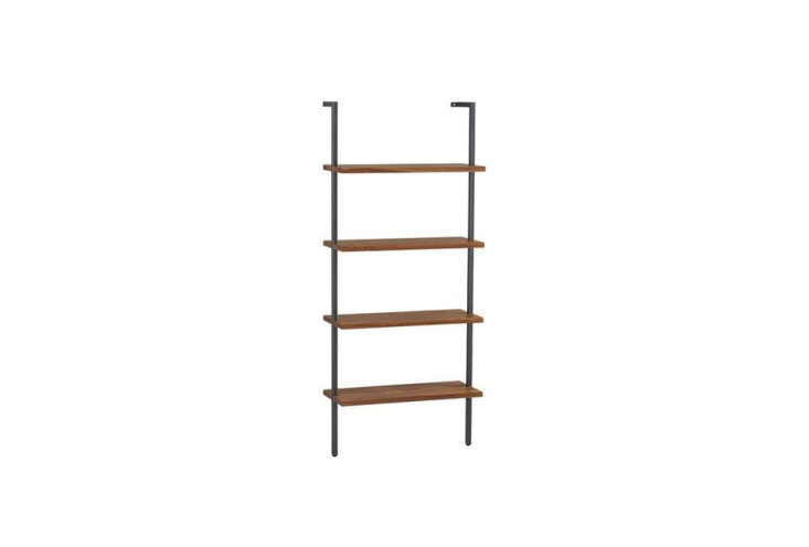 The Helix White Oak 70-Inch Wall-Mounted Bookcase features four fixed blond quartersawn oak veneer shelves on a squared metal tube frame of powder-coated carbon that can be mounted across a wall. Each ladder is 30 inches wide and 70 inches in height; $
