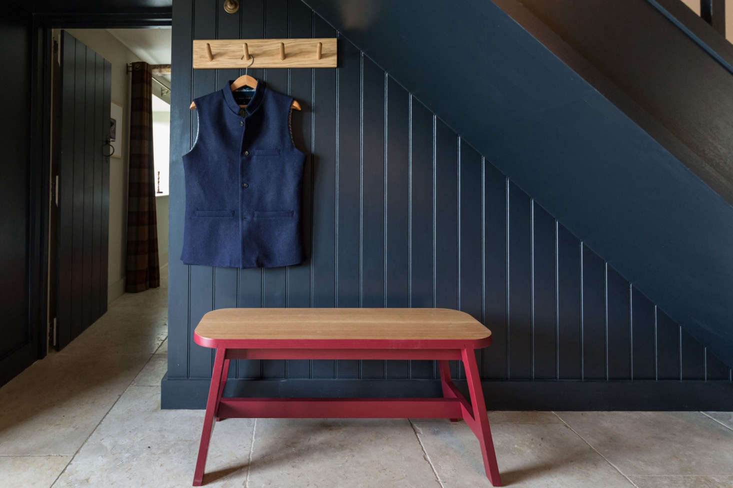 A Peg Rail from Another Country at the The Craftsman's Cottage: A Holiday Rental in England with Furnishings for Purchase in the hamlet of Semley in rural Wiltshire.