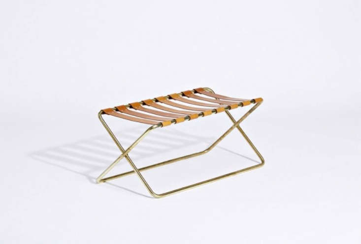 Made in a limited edition of 0 by Evie Group for Commissioned Editions the Luggage Rack in brass and saddle leather. The Criteria Collections showroom has one available for $loading=