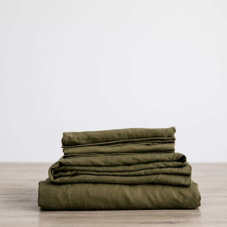 The Linen Sheet Set in Olive by Cultiver is available from $365 and comes with a matching linen bag.