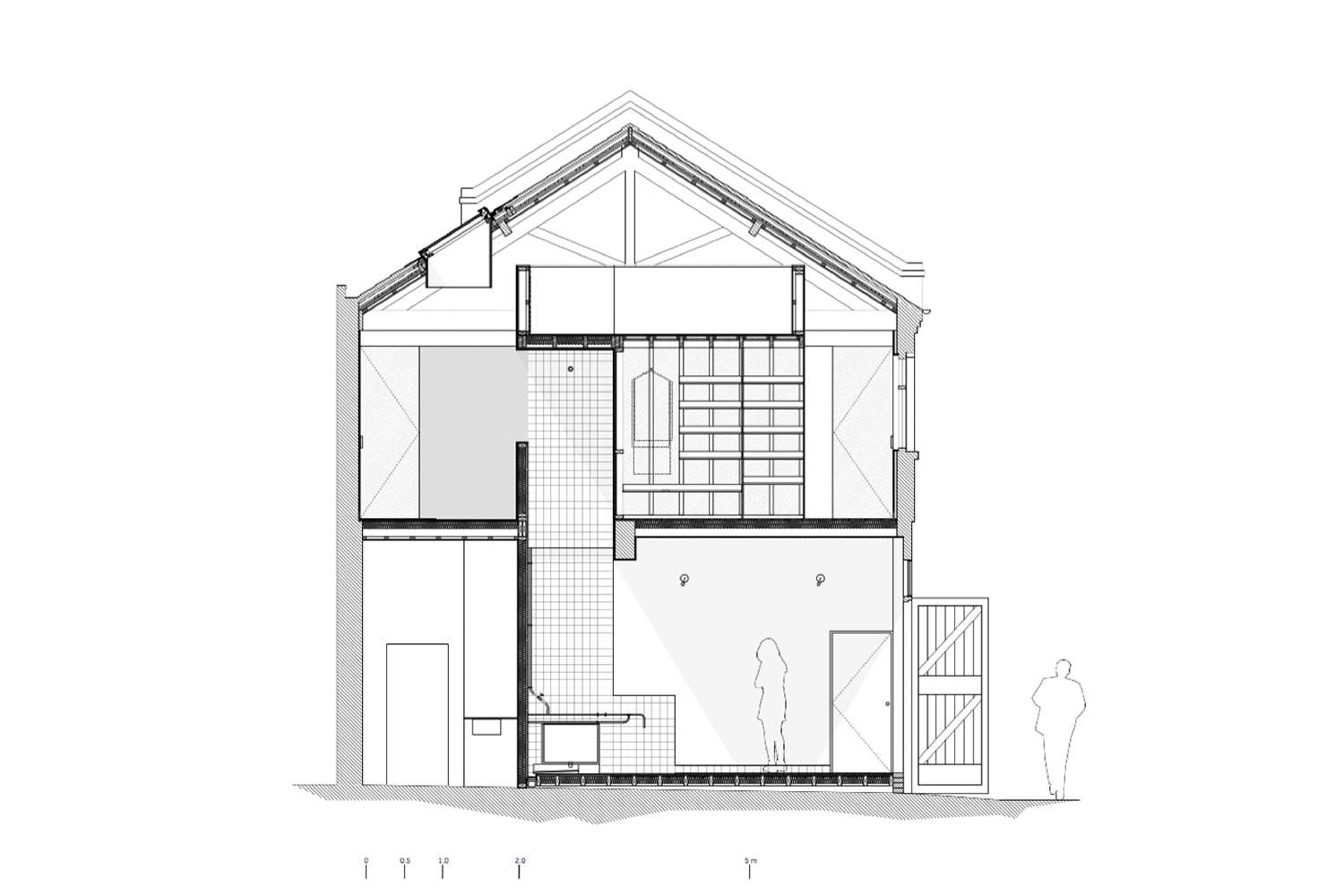 A drawing of the house shows the back room storage, the bathhouse, and its chimney-like space to the second floor, and the upstairs bathroom and closet.