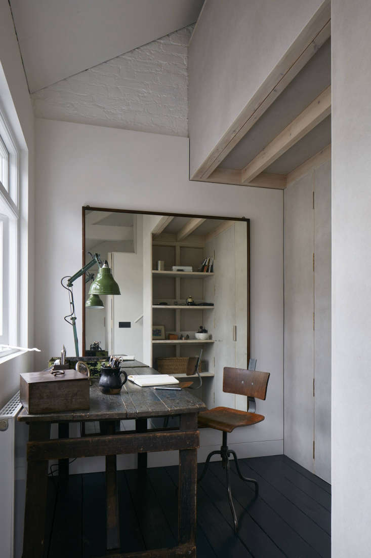 Maureen furnished her corner office with antiques she collected during a soujourn in France. The heater is a Stelrad Planar Radiator. Photograph by James Brittain.