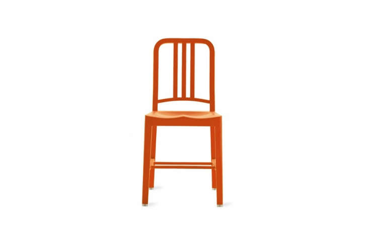 Steal This Look CampStyle Bedroom with Bold Color The Emeco \1\1\1 Navy Chair in Persimmon is \$330 at Design Within Reach.