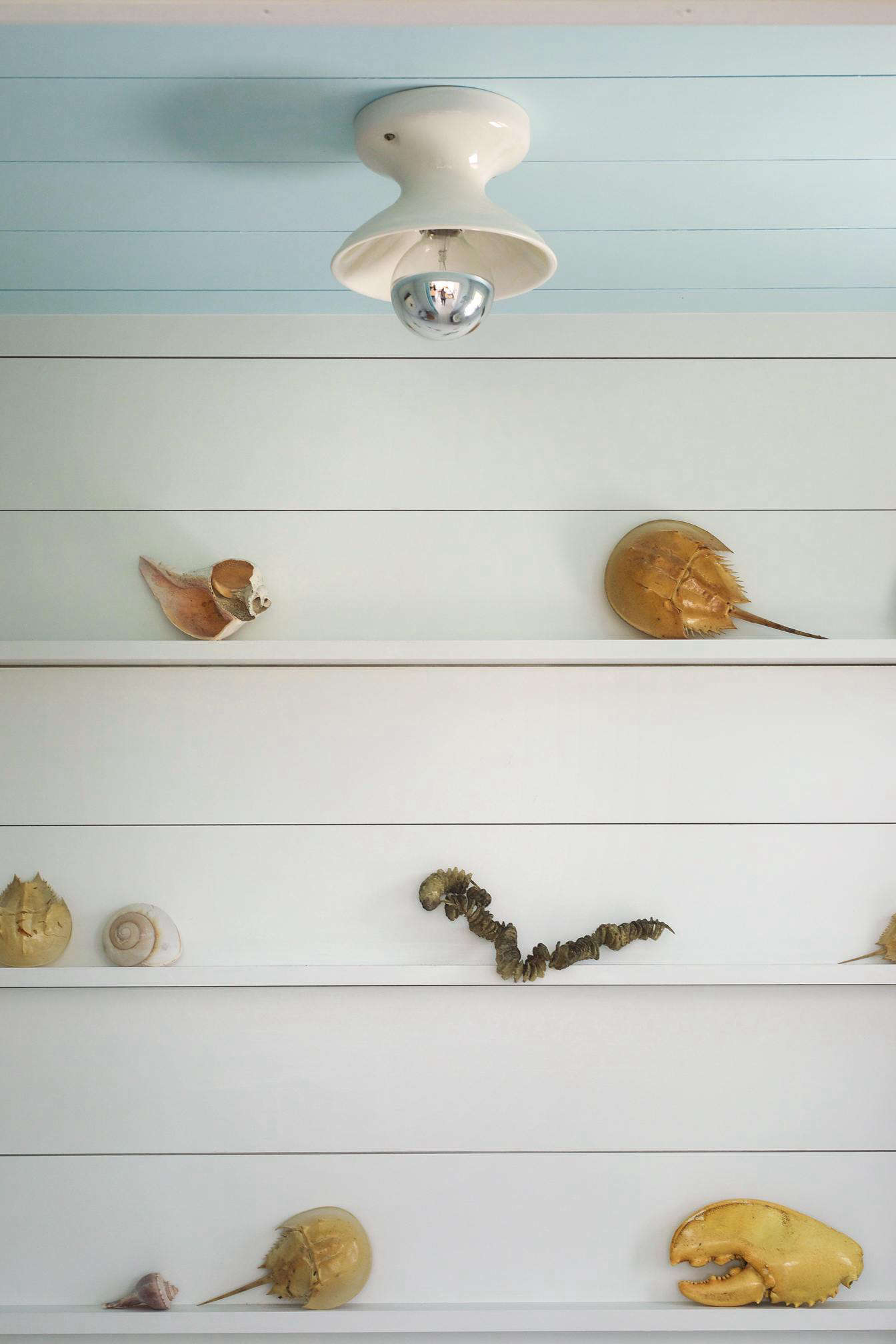 Victoria lined the small bath with shallow shelves as display perches for beachcombing finds. The ceiling light is the Alabax Medium from Schoolhouse Electric.