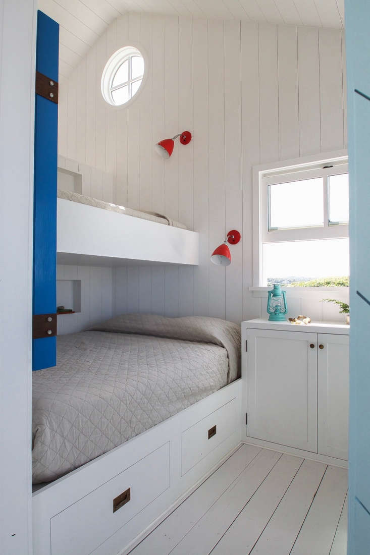 In both bedrooms, all furniture is built in, nautical-style.