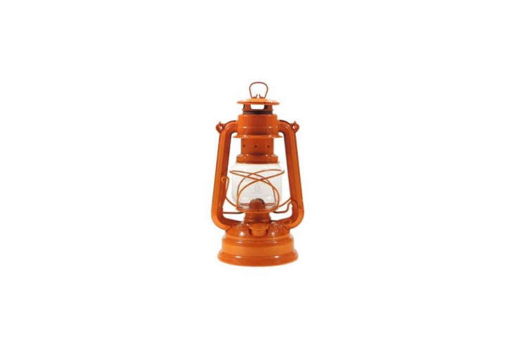 Steal This Look CampStyle Bedroom with Bold Color Find a Feuerhand Hurricane Lantern in orange for \$44.95 on eBay. It&#8\2\17;s also available in the UK at Wilderness \1\2\1 for £\17.99 (\$\23 USD). The lantern at Basecamp, originally an oil lamp, was rewired as a desk lamp.