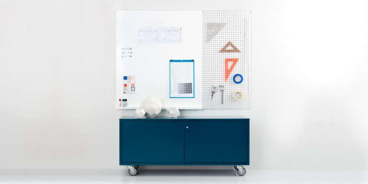 the modern media credenza in teal with casters is \$\1,675 (\$\1,605 with legs). 10
