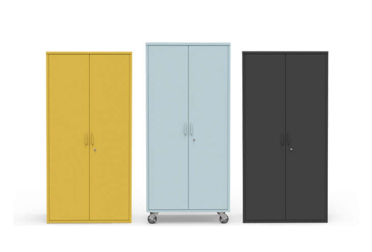 the active duty storage cabinet, shown here in yellow, mint, and charcoal, is \ 11