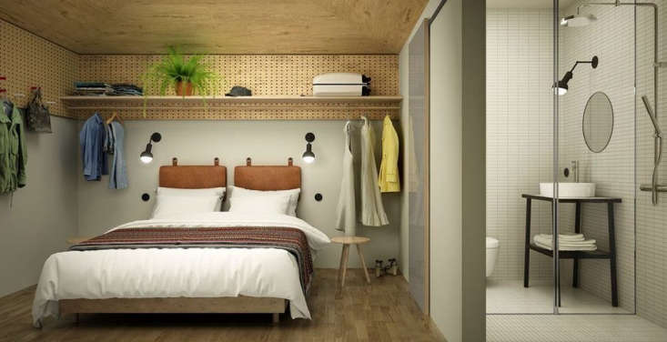 SmallSpace Solutions 5 Tiny Bedroom and Dorm Ideas to Steal from Stockholms Hobo Hotel Julia Child popularized the use of pegboards for pots and pan storage, and of late, we&#8\2\17;ve been seeing birch plywood pegboards hung all over the house, including on the side of a fridge.But this is the first time we&#8\2\17;ve seen pegs applied to the upper reaches of a bedroom. And why not?