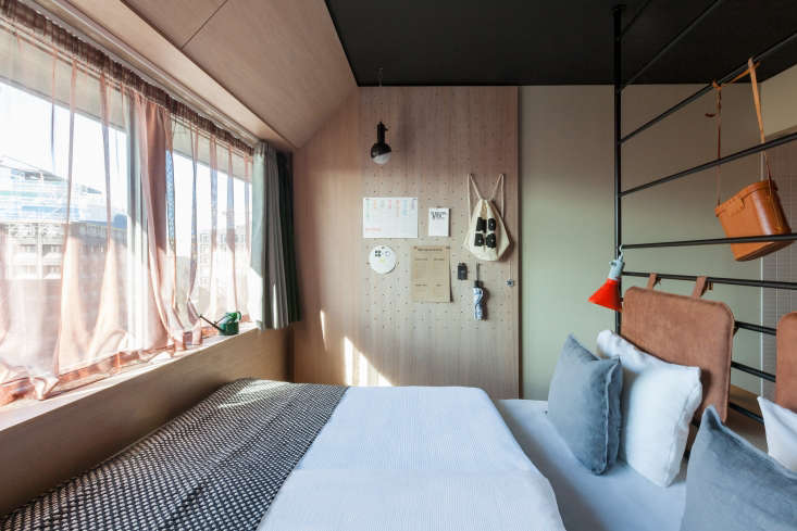 Green walls at the Hobo Hotel in Stockholm fromSmall-Space Solutions: 5 Tiny Bedroom (and Dorm) Ideas to Steal from Stockholm's Hobo Hotel.