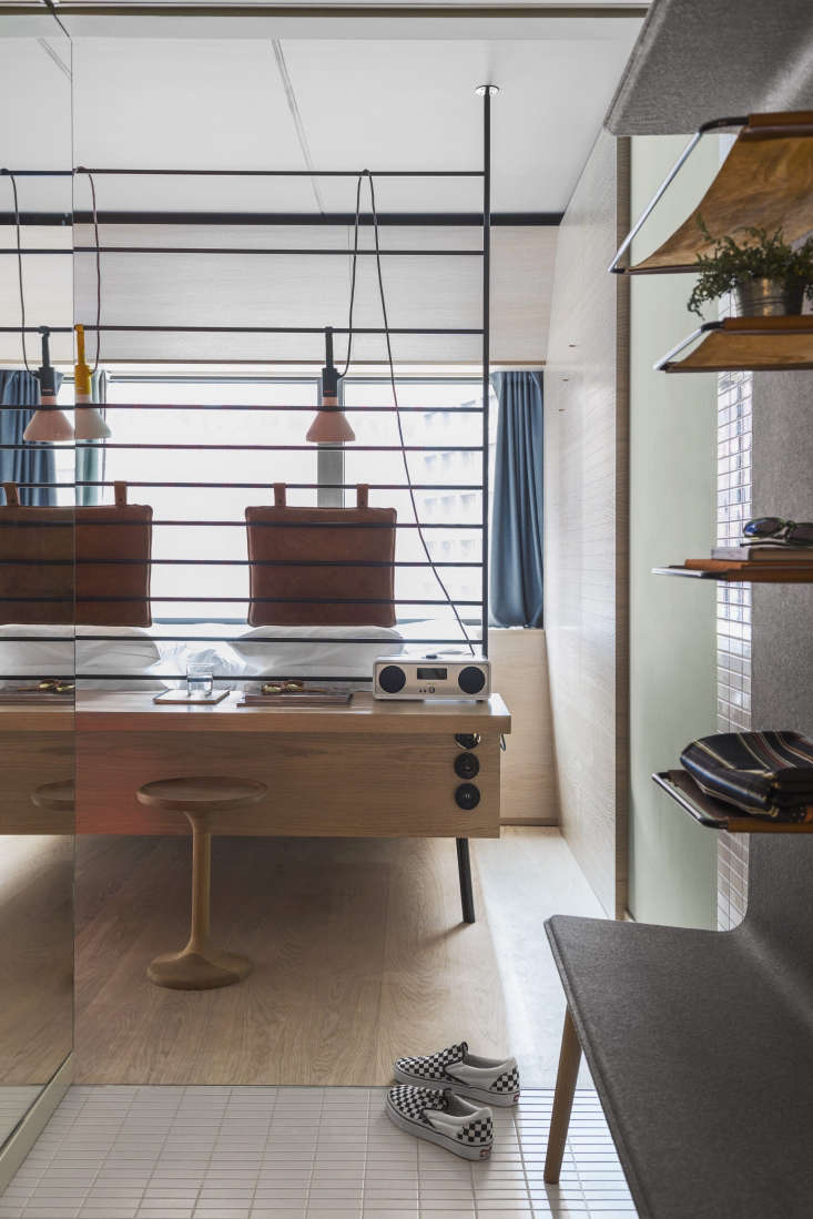 SmallSpace Solutions 5 Tiny Bedroom and Dorm Ideas to Steal from Stockholms Hobo Hotel The desk fronted beds are custom Studio Aisslinger designs. So is the hotel lighting; it&#8\2\17;s now in production by Wästberg as the Hobo Lamp Family. Photograph by Erik Lefvander.