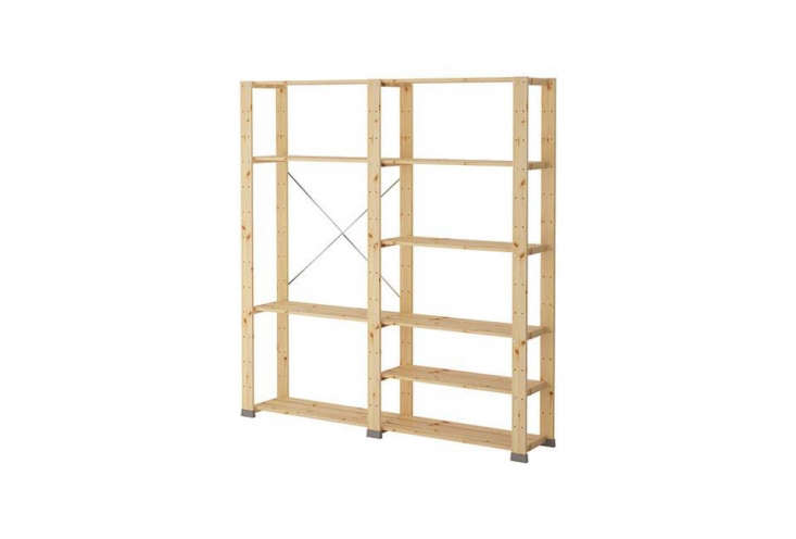 the modular hejne shelving unit, shown here in two sections, is made of untreat 14