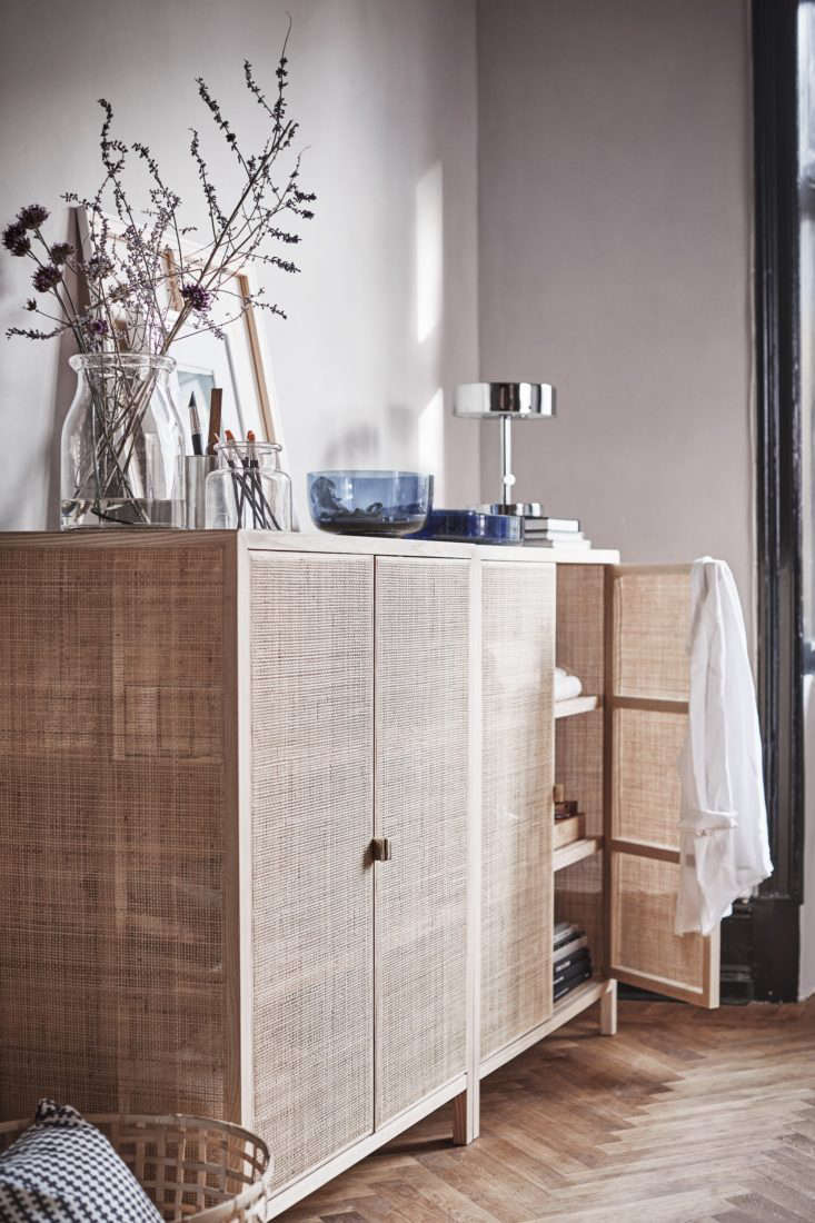 This Rattan Cabinet is made of solid ash, pine, and rattan with brass exterior hardware, interior shelves, and magnetic-latch doors. Currently sold out nationwide, it&#8