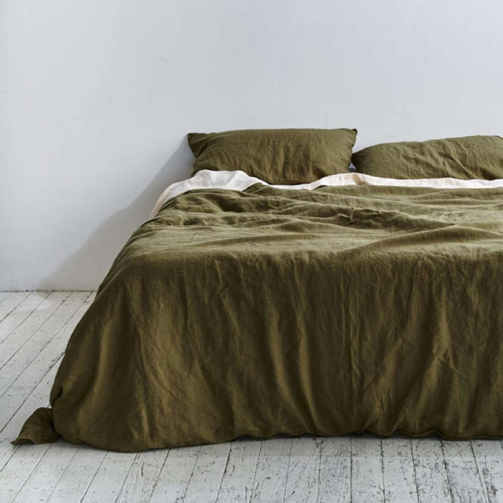The 0 Percent Linen Duvet Set in Moss from Australian company In Bed (in collaboration with We Are Triibe) is available from $390. They note that the shade is &#8