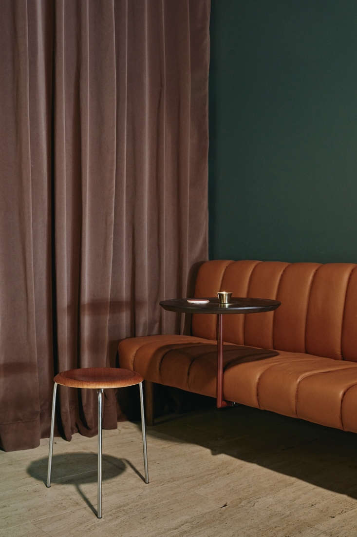 to create the feel of a hotel lobby, laajisto utilized velvet curtains and leat 14