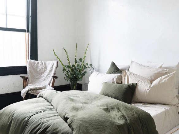 Serene Scandinavian Winter Bedroom, Muji Linen Bedding Reviews