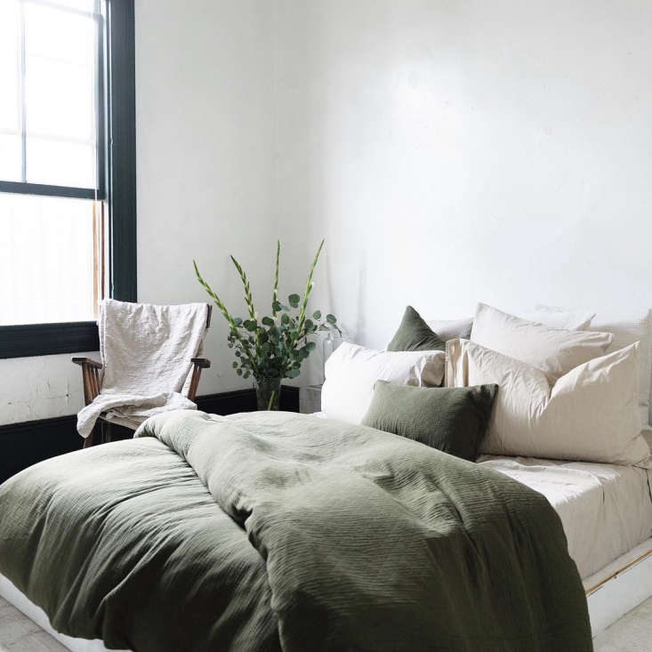 LA-based soft goods company Matteo offers Vintage Linen Sheets in olive, made with nontoxic dyes, available in fitted (from $5), flat (from $5),shams (from $50), and pillowcases (from $40). Also shown here: the Vintage Linen Duvet Cover (from $5).