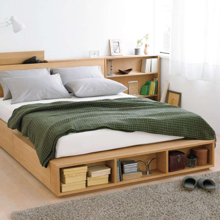 10 Easy Pieces Storage Beds Muji&#8\2\17;sLarge Double Light Ash Bed has two large storage drawers and can be custom built with headboard and bedside storage too; starting at \$490.