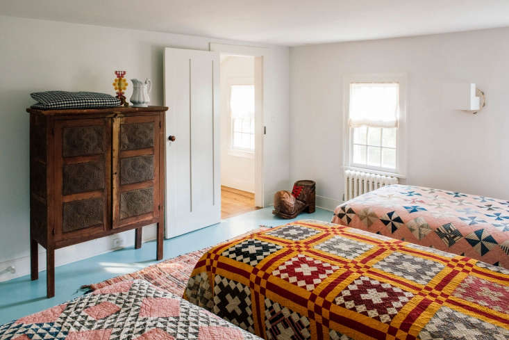 a kids&#8\2\17; room has a trio of vintage quilts found at brimfield and a  21