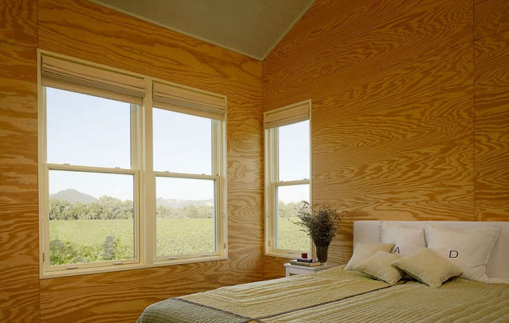 When Bay Area architect Nick Noyes was commissioned to design this modern cabin in Healdsburg, Cailfornia, he discovered that the owners had access to a family-owned plywood factory in Alabama. The cabin is lined with highly figured pine plywood boards that were hand picked from every run, set aside, and then loaded on a truck to California. Photograph by Cesar Rubio.