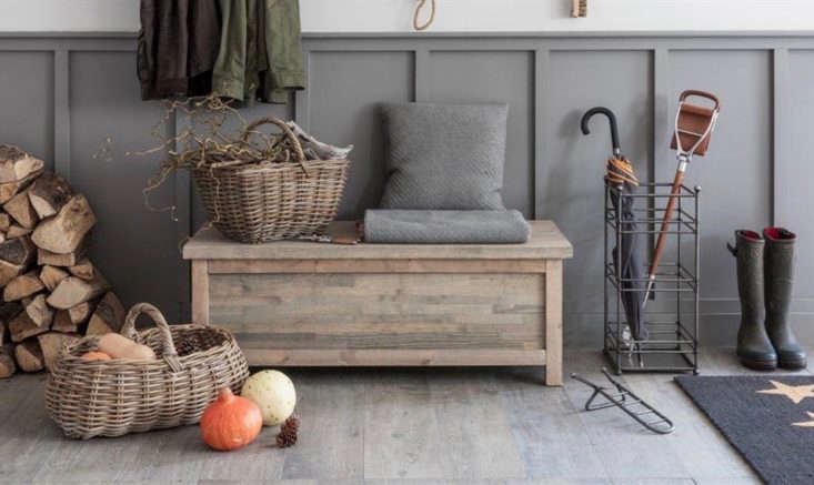 a good storage bench, positioned in a mudroom, in the entryway, or on the porch 11