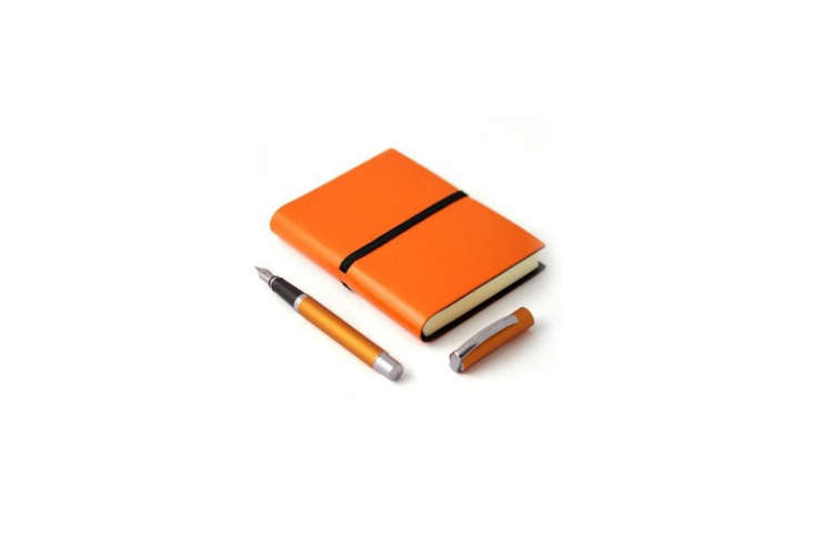Steal This Look CampStyle Bedroom with Bold Color From Pen Haven, the Online Orange Fountain Pen Journalis £34 (\$44 USD).