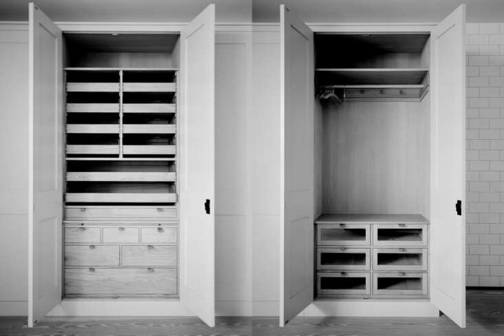 Is the luxury closet the new bespoke kitchen? We think so; here's an example from the custom kitchen masters of Plain English who applied the same tricks of kitchen cabinet to a wardrobe interior.