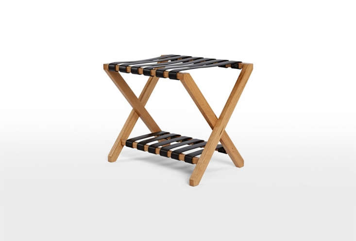 The Oak and Leather Luggage Rack is made of white oak and black leather; $9 at Rejuvenation.