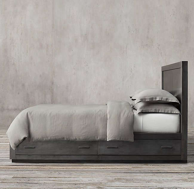 10 Easy Pieces Storage Beds For an option in metal, Restoration Hardware&#8\2\17;s La Salle Metal Wrapped Storage Bed comes in aged brass or zinc (shown); \$4,895 for the queen.