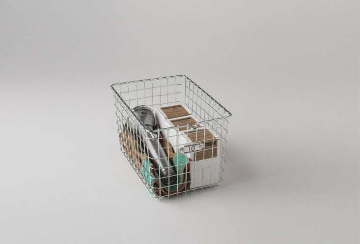 wire baskets are good for corralling bedside essentials, extra toiletries, desk 19