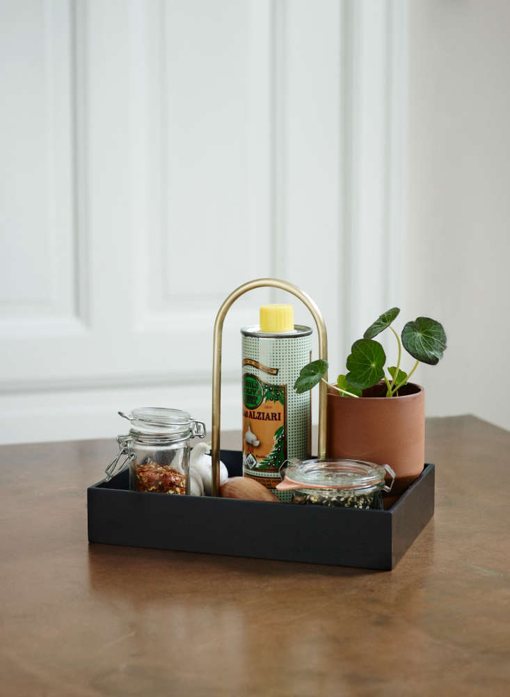 TheNorr Box is newly available in a black-painted finish, in addition to the original untreated oak. With a brass handle, it can serve as a caddy for bringing spices and condiments to the table, or store them on the countertop. It&#8
